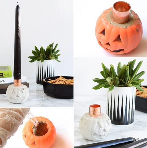 kreative diy halloween deko mit jack o'lantern-kerzenhalter aus beton und schwarzen kerzen