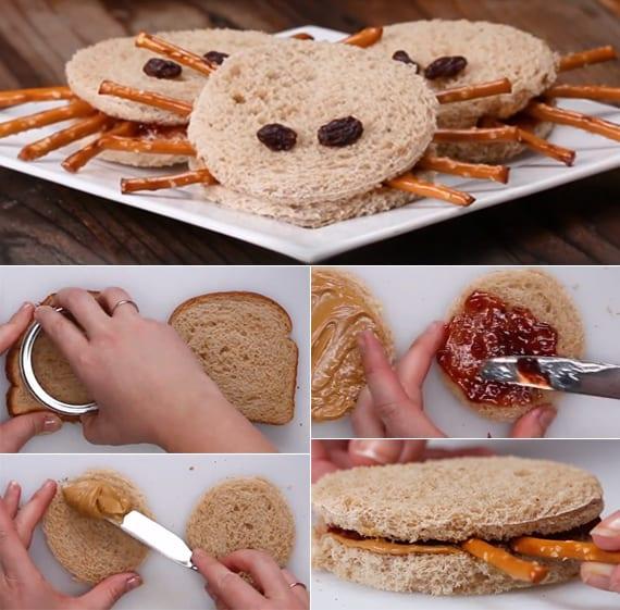 lustige spinnen-sandwiches als kreatives kinder partyessen
