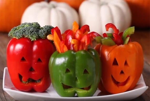 gesundes und originelles kinderparty essen mit gemüsen für halloween