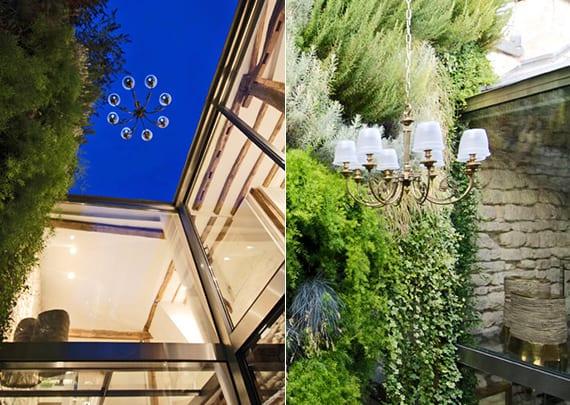 coole dachwohnung mit vertikalem garten und kreativer bgarteneleuchtung mit kronleuchter