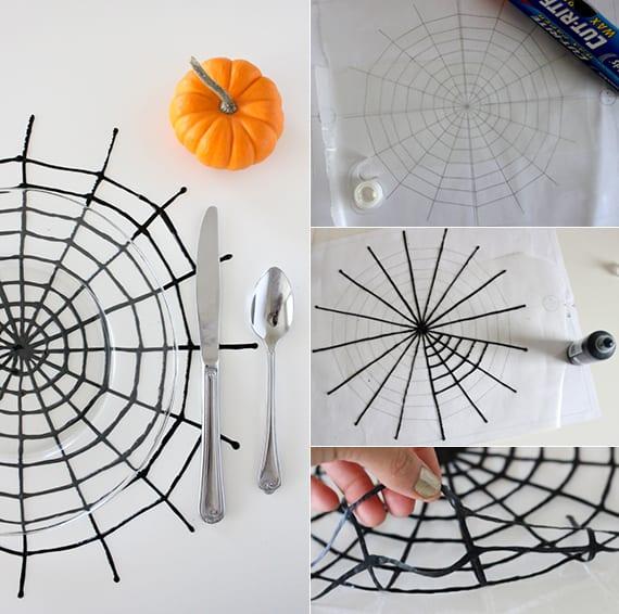 halloween tisch eindecken mit schwarzen DIY Spinnennetz-Tischdeckchen und glastellern