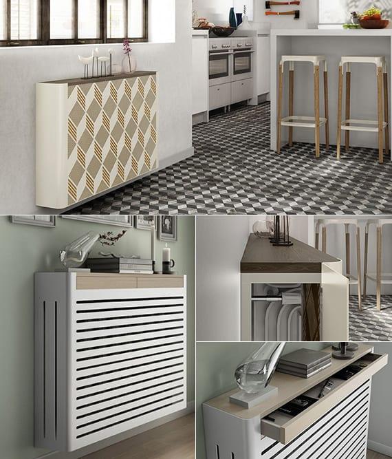 moderne raumgestaltung ideen für flur und küche mit moderner radiator verkleidung weiß mit abstellfläche holz