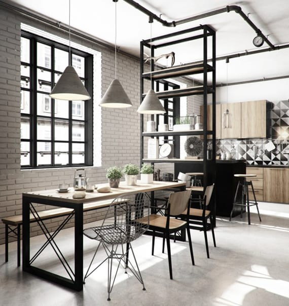 skandinavisches esszimmer industriell einrichten mit wohnküche holz, küchenspritzwand fliesen mit geometrie-muster, ziegelwand weiß, holzesstisch mit metallbeinen schwarz, metallregal und pendellampen beton