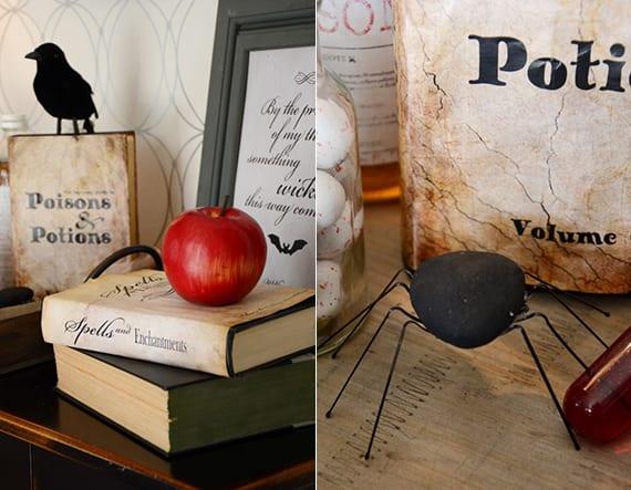 kreative bastelideen halloween für diy dekoration mit Zauberbuchdeckeln und schwarzen spinnen aus steinen und Haarklammern