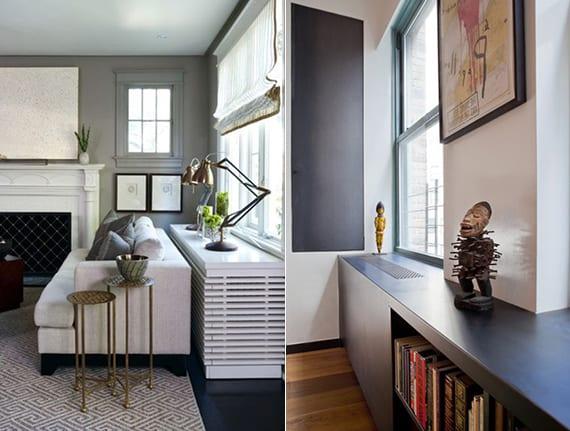 modernes wohnzimmer interieur mit akzentwand grau und sideboard-Heizkörperverkleidung weiß oder moderner fensterbank-heizkörperverkleidung schwarz