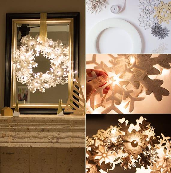 coole bastelideen für diy weihnachtsdeko mit lichterkette, spigel in bilderrahmen und schneeflocjen oranamenten