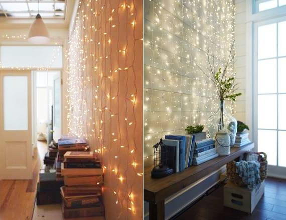 kreative wandgestaltung mit lichterketten für eine festliche und romantische atmosphäre zu weihnachten