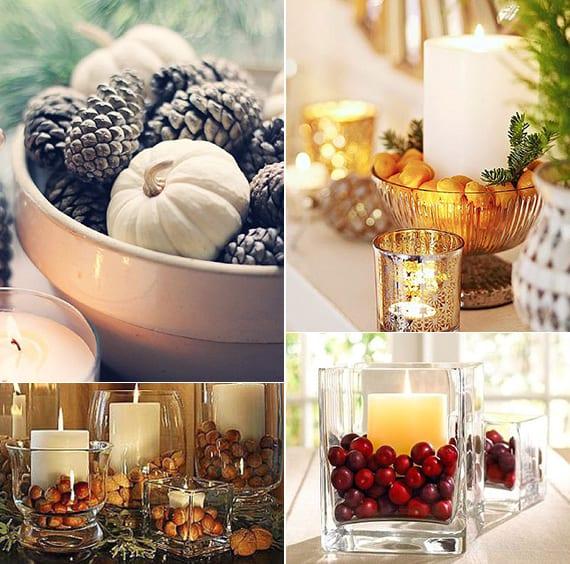 festliche tischdeko winter mit zapfen, kleinen weißen kürbissen, haselnüssen, kornelkirschen und weißen kerzen in glasschalen und glasvasen