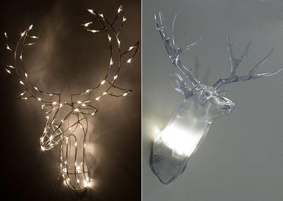 attraktive weihnachtliche wanddekoideen mit wandlampe hirsch