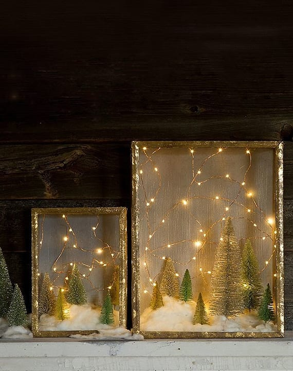 DIY Weihnachtsdeko mit 3d winterbildern in glaskasten mit LED lichterkette, kunstschnee und bürstenbäumen