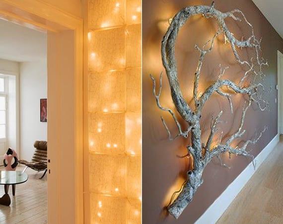 wände kreativ dekorieren mit lichterkette hinter papier oder zweigen