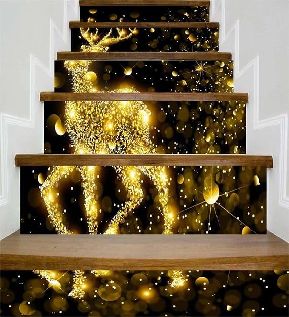 coole weihnachtsdeko für innentreppe mit weihnachtlichen wandtattoos