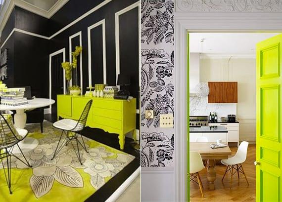 kreative eszzimmer interieur design ideen und wandgestaltung mit wandfarbe schwarz, weißen tapeten mit schwarzem blumenmuster, rundem esstisch weiß, chartreuse teppich mit blumenmuster, zimmertür und sideboard grüngelb