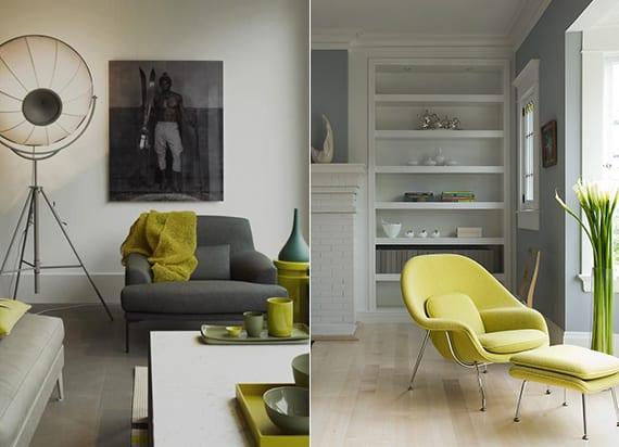grau-grün farbkombinationen wohnzimmer für moderne einrichtung mit retrosesseln, grüne zimmerdeko, weiße einbauregale und parkettboden hell