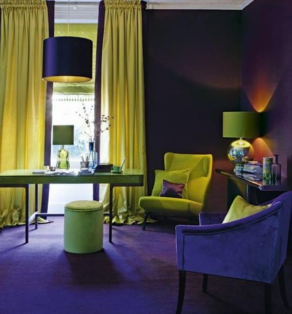 attraktive wohnideen für individuelle und originelle HomeOffice gestaltung im dunkellila und grüngelb