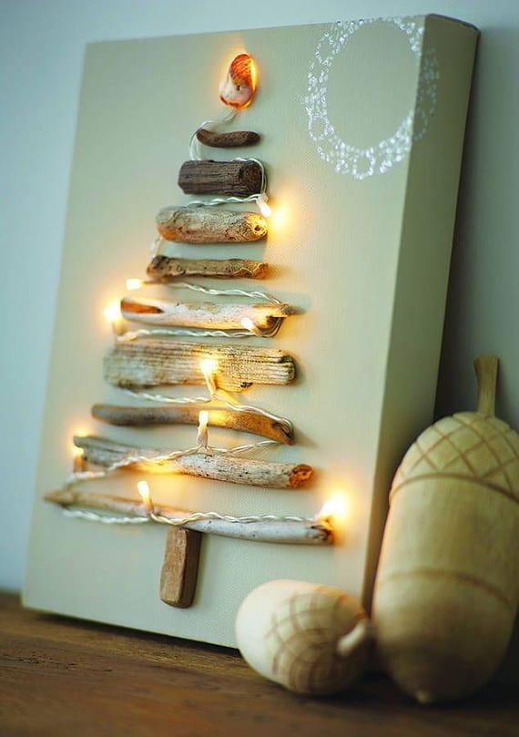 coole weihnachtsdeko ideen mit diy weihnachtsleinwand leuchtend aus treibholz und lichterkette