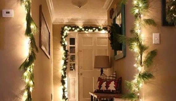 W nde im flur weihnachtlich dekorieren mit diy girlanden for Jugendzimmer weihnachtlich dekorieren