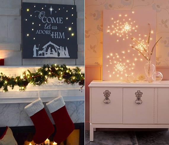 kamin und wand weihnachtlich dekorieren mit leuchtenden DIY Leinwänden