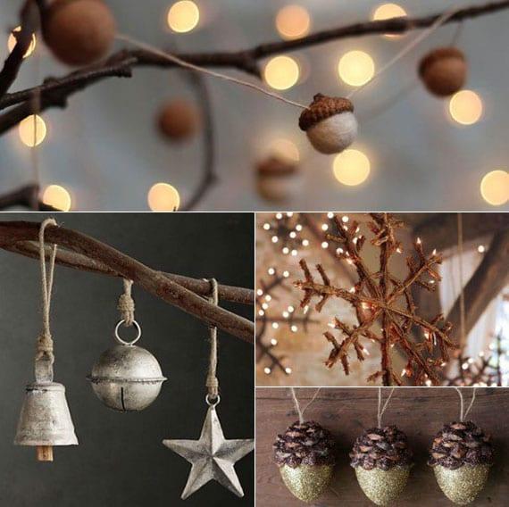 dekoideen mit rustikalen weihnachtsanhängern für natürliche weihnachtsdekoration