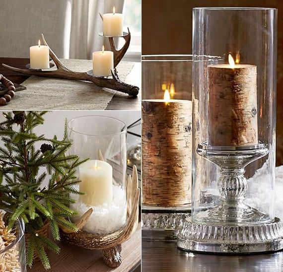 coole weihnachtstischdeko ideen mit kerzen in windlichtern und rustikalen kerzenhalter aus geweihstange