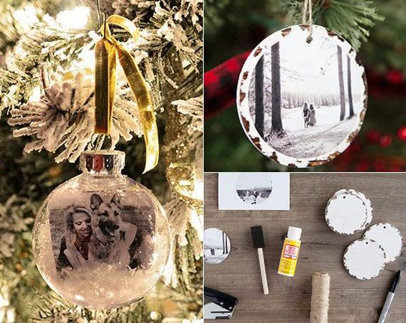 diy fotoanhänger aus holz und mit glaskugel als weihnachtsbaumschmuck
