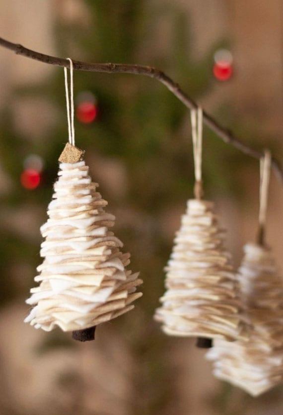 tannenbaum aus filz basteln für individuelle christbaumdekoration weiß