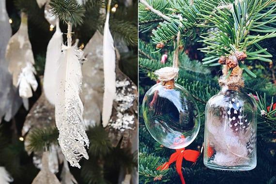 tannenbaum kreativ dekorieren mit weißen glitter-federn und bunten vogelfedern in apothekerflaschen
