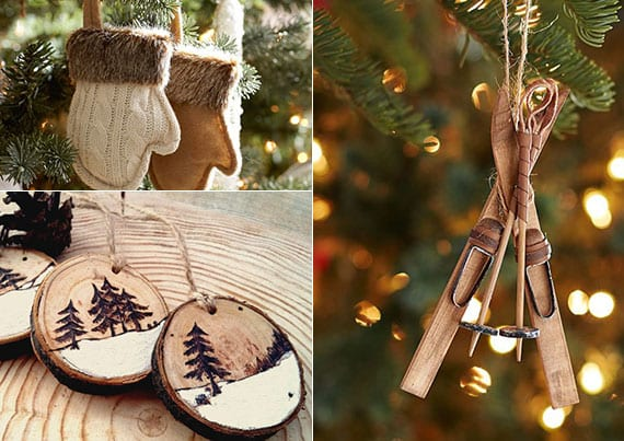 rustikaler weihnachtsbaumschmuck mit kleinen Handschu- und Ski-weihnachtsanhänger