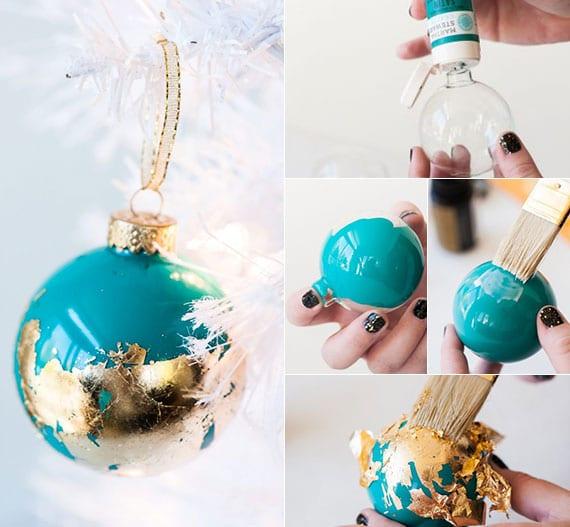 christbaum weiß kreativ schmücken mit diy weihnachtskugeln blau mit gold
