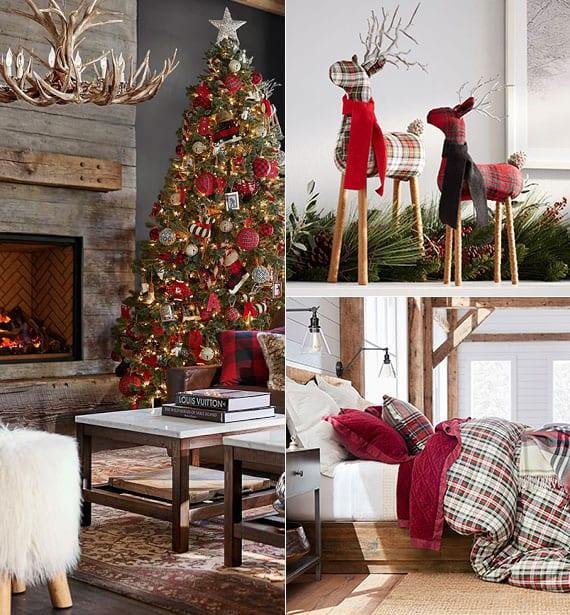 coole deko-artikel, bettwäsche und weihnachtsbaumschmuck in Plaid-Muster