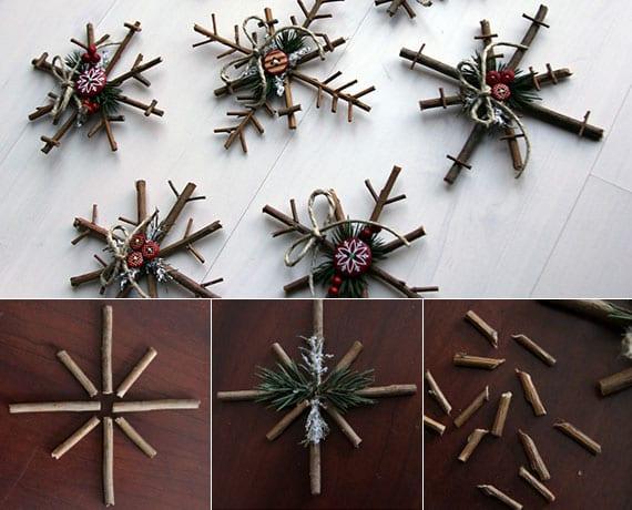 tannenbaum schmücken mit diy Sternen aus Holz