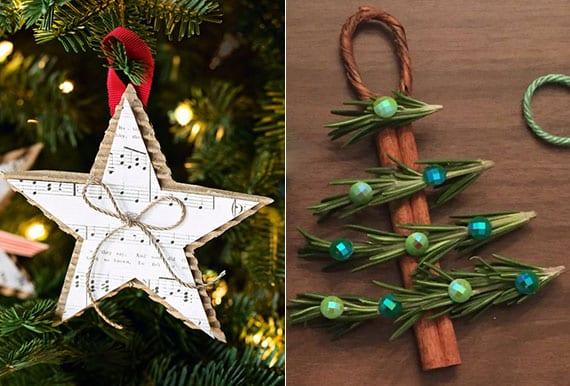 diy weihnachtsstern aus wellpappe und music-sheet_diy tannenbaum-anhänger aus kaneelstangen und nadelbaumzweigen