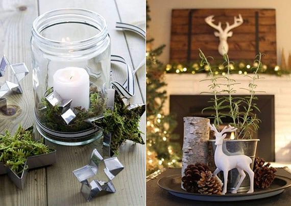 originelle wihnachtsdeko ideen für rustikale tischdeko mit DIY Windlichter aus Einmachglas, stern-ausstechformen mit moos, runder platte schwarz mit zapfen, hirschfigur weiß, stück holz, thymian und kerze in metallbecher