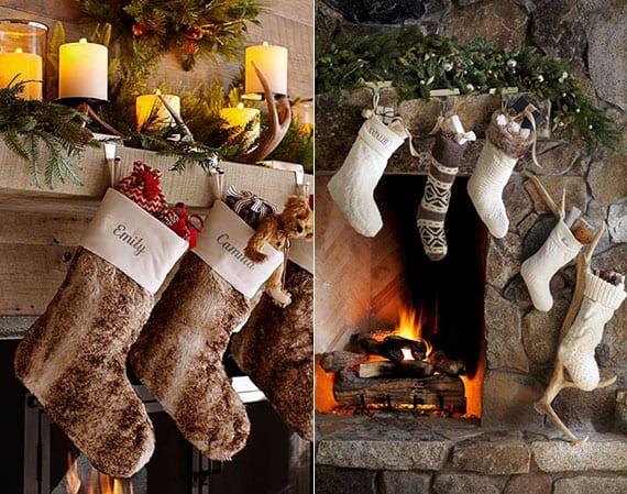 coole weihnachtsdeko ideen für kamin mit kunstpelz-weihnachtsstrumpfen, geweihstange-kerzenhalter und girlande aus nadelbaumzweigen