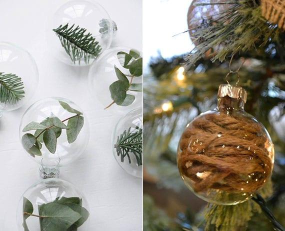 weihnachtsbaum schmücken kreativ mit glaskugeln
