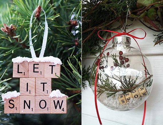 kreatives weihnachtsbasteln von weihnachtsbaumschmuck mit buchstaben, kunstschnee und dekorativen beerenzweigen