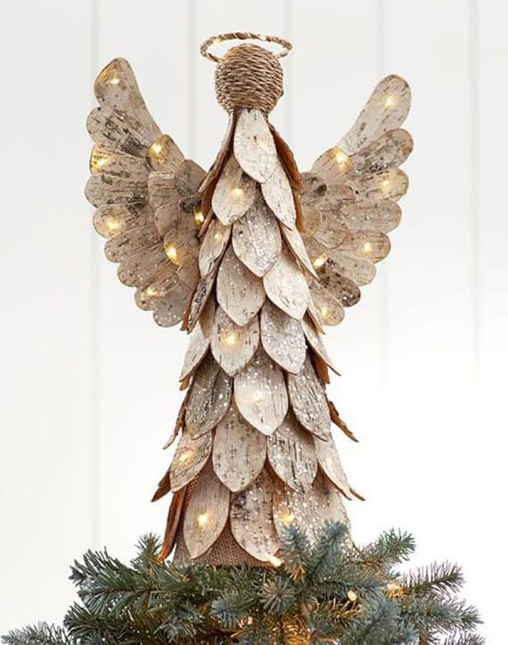 weihnachtsdeko mit engel aus birke