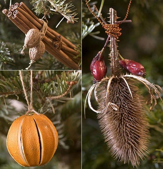 weihnachtsanhänger basteln aus orange, kaneelstangen, nüssen und trockenpflanzen