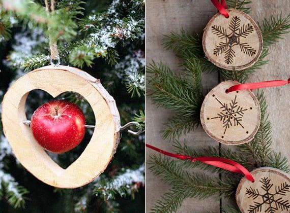 cooles weihnachtsbasteln vom weihnachtsbaumschmuck mit holzscheiben