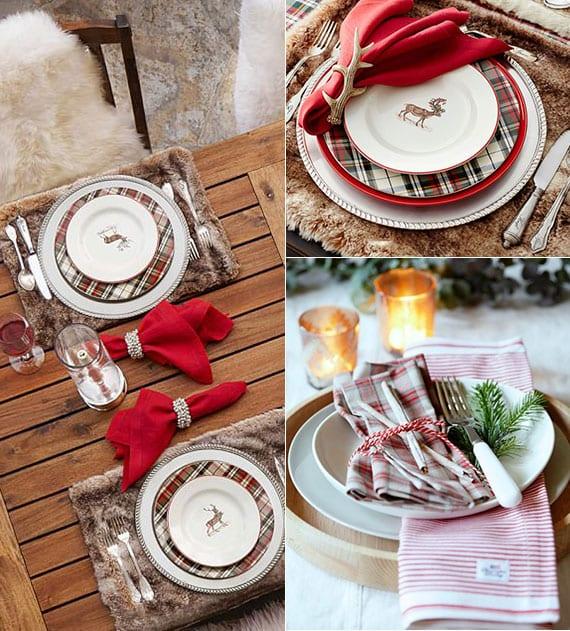 rustikale weihnachtstischdeko für holzesstisch mit Tischset aus Kunstpelz, festlichen Teller mit plaid-muster und hirschen, stoffservietten rot mit geweihstange-serviettenring