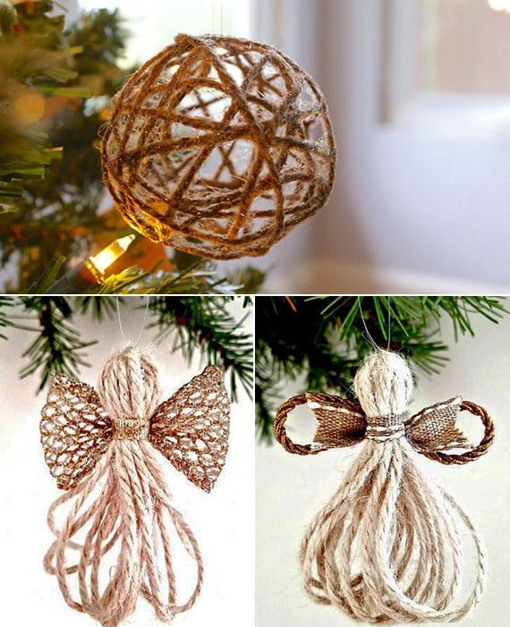 weihnachtskugel und engel aus schnur selber machen