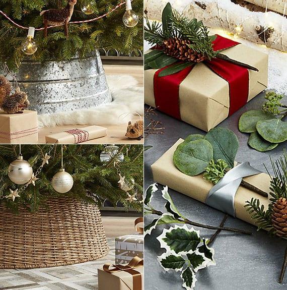 der passende Weihnachtsbaumkorb aus rattan oder metall für rustikale weihnachtsdeko und rustikal verpackte geschenke